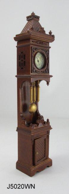 Dolls House Working Walnut Grandfather Curio Clock Miniature JBM Hall Furniture