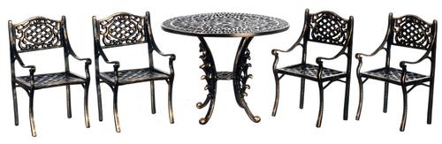 Incredible 1 12 Scale Miniature 5Pc Black Gold Wire Patio Furniture Set Download Free Architecture Designs Scobabritishbridgeorg