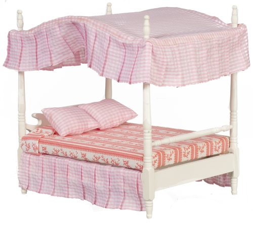 1 12 Scale Miniature 3pc White Pink Canopy Bed Set