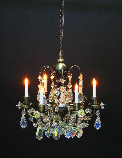 1 12 Scale Houseworks Miniature Dollhouse Six Arm Crystal Chandelier
