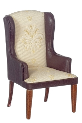 1:12 Scale JBM Miniature High Back Leather & Fabric Armchair