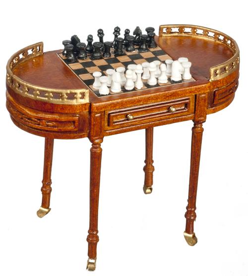 1 12 Scale Jbm Miniature 17th C Walnut Chess Table