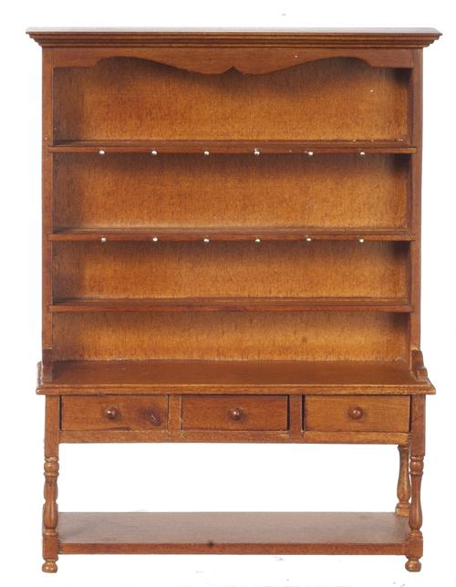 Walnut  Oak. 1 12 Scale JBM Miniature Victorian Medium Welsh Dresser Hutch