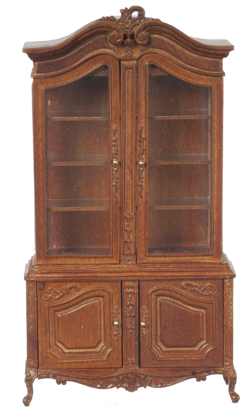 Dollhouse Miniature Display Cabinet with Door Walnut Finish 1:12 Scale Wood