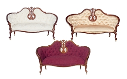 1:12 Scale JBM Miniature Victorian Walnut Settee (Various Colors)