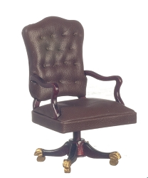 1:12 Scale Platinum Miniature Governor's Mahogany Desk Chair
