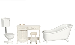 1:12 Scale Platinum Miniature Avalon Bathroom Collection (White)
