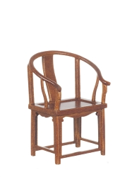1:12 Scale Platinum Miniature Curved Back Walnut Armchair