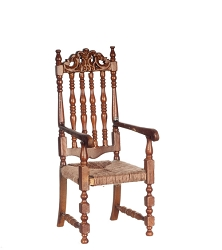 1:12 Scale Platinum Miniature 1700 Banister Back Walnut Armchair