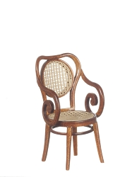 1:12 Scale Platinum Miniature Thonet & Bentwood Walnut Armchair
