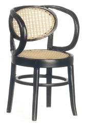 1:12 Scale Platinum Miniature Thonet & Bentwood Black Armchair