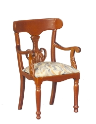 1:12 Scale Platinum Miniature Louis Napoleon Walnut Armchair