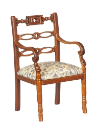 1:12 Scale Platinum Miniature Art Nouveau Walnut Armchair