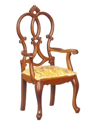 1:12 Scale Platinum Miniature Queen Anne Croix Walnut Armchair