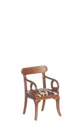 1:12 Scale Platinum Miniature Walnut Armchair