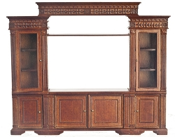 1:12 Scale Platinum Miniature Walnut Entertainment Center