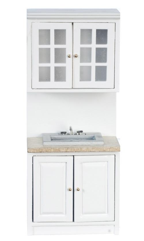 Dollhouse Miniature White Kitchen Island w// Marble Top T5718