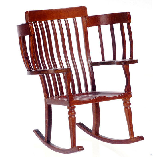 1 12 Scale Miniature Big Family Rocking Chair Walnut