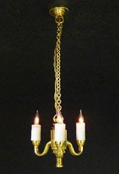 1:24 Scale Cir-Kit Miniature 3-Arm Colonial Chandelier
