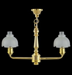 1:12 Scale Miniature 2-Arm Frosted Bell Chandelier