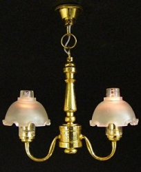 1:12 Scale Miniature 2-Arm Fluted Shade Chandelier