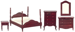 1:12 Scale Miniature 5pc. Mahogany Bedroom Set