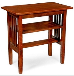 1:12 Scale JBM Miniature Mission Walnut Side Table with Lower Shelf