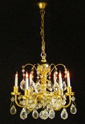 1:12 Scale Cir-kit Miniature 6-Arm Up Renaissance Crystal Chandelier