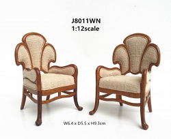 1:12 Scale JBM Miniature Art Nouveau Walnut Armchair