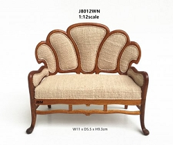 1:12 Scale JBM Miniature Art Nouveau Walnut Settee