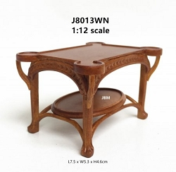 1:12 Scale JBM Miniature Art Nouveau Walnut Sofa Table