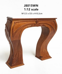 1:12 Scale JBM Miniature Art Nouveau Walnut Fireplace Surround
