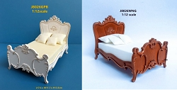 1:12 Scale JBM Miniature Late Victorian American Bed (White/Walnut)