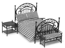 1:12 Scale Miniature 3pc. Black & Plaid Bedroom Set