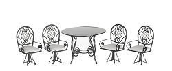 1:12 Scale Wire Miniature 5pc. Monterey Table Set (Black)