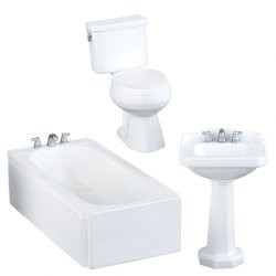 1:12 Scale Houseworks Miniature 3pc. White Resin Bathroom Set