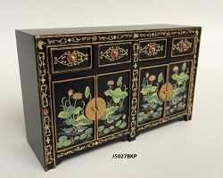 1:12 Scale JBM Miniature Handpainted Gold on Black Sideboard