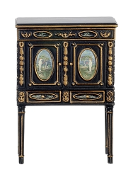 1:12 Scale JBM Miniature Victorian Black & Gold Chinoises Cabinet