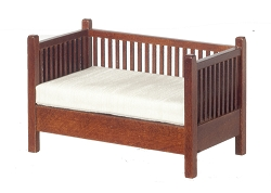 1:12 Scale JBM Miniature Mission Walnut Settee with Slats