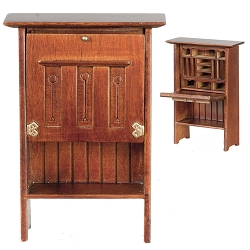 1:12 Scale JBM Miniature Mission Style Writing Desk with Cupboard