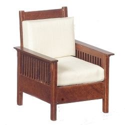 1:12 Scale JBM Miniature 1907 Mission Walnut Lounge Chair
