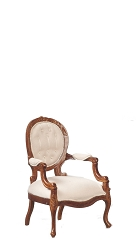 1:12 Scale JBM Miniature George III Open Upholstered Walnut Armchair
