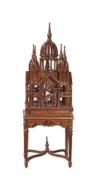 1:12 Scale JBM Miniature Victorian Birdcage & Table (Walnut)