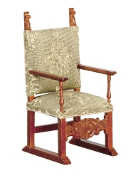 1:12 Scale JBM Miniature 17th c. Spanish Jacobean Walnut Armchair
