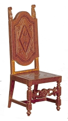 1:12 Scale JBM Miniature Spanish High Back Walnut Chair