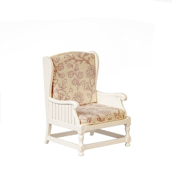 1:12 Scale JBM Miniature Cottage White Armchair