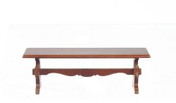 1:12 Scale JBM Miniature Walnut Trestle Bench