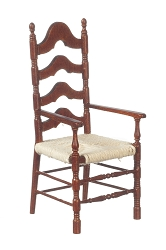 1:12 Scale JBM Miniature Walnut Ladderback Armchair