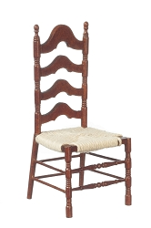1:12 Scale JBM Miniature Walnut Ladderback Side Chair