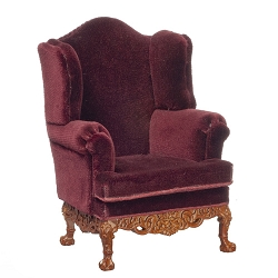 1:12 Scale JBM Miniature 19th C. Georgian Walnut Wing Chair